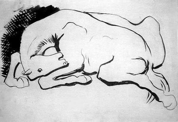 Рисунок лошади. Пабло Пикассо.