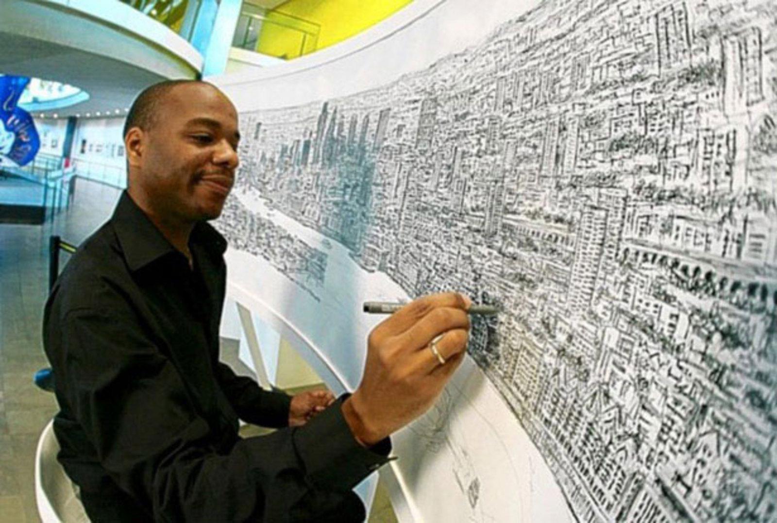 Художник-аутист рисует невероятно точные панорамы мегаполисов ...