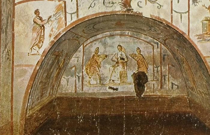 фреска в катакомбах Сан Себастьяно